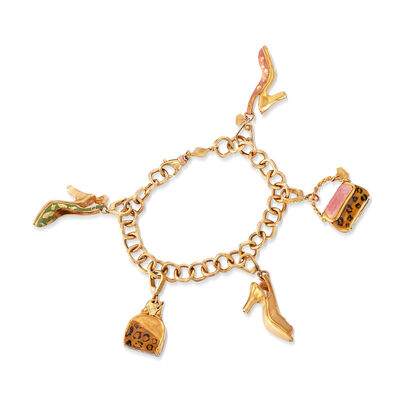C. 2000 Vintage Multicolored Enamel Charm Bracelet in 18kt Yellow Gold, , default