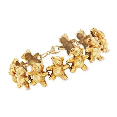 C. 1990 Vintage 14kt Yellow Gold Teddy Bear Bracelet, , default