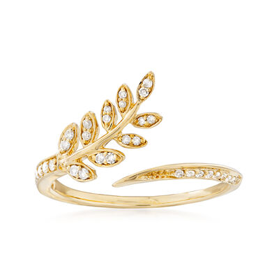 .13 ct. t.w. Diamond Leaf Bypass Ring in 14kt Yellow Gold, , default