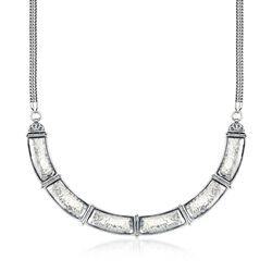 "Sterling Silver Curved Bar Link Necklace. 17"", , default"