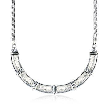 """Sterling Silver Curved Bar Link Necklace. 17"""", , default"""
