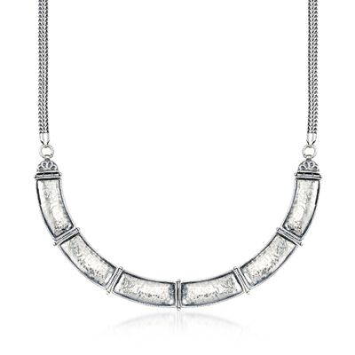 Sterling Silver Curved Bar Link Necklace, , default