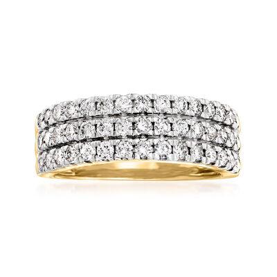 1.00 ct. t.w. Diamond Three-Row Ring in 14kt Yellow Gold
