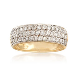 C. 1990 Vintage 1.00 ct. t.w. Diamond Three-Row Ring in 14kt Yellow Gold. Size 6.5, , default