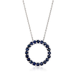 1.00 ct. t.w. Sapphire Circle of Eternity Necklace in Sterling Silver, , default