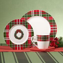 "Lenox ""Vintage Plaid"" Porcelain Dinnerware With Bonus ""Holiday Jewels"" Serveware, , default"