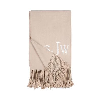 Nude Fringe Throw Blanket, , default