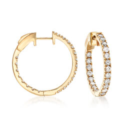 "1.50 ct. t.w. Diamond Inside-Outside Hoop Earrings in 14kt Yellow Gold. 3/4"", , default"