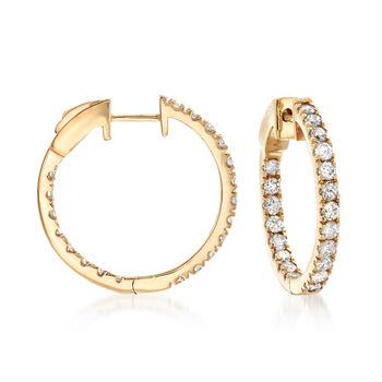 """1.50 ct. t.w. Diamond Inside-Outside Hoop Earrings in 14kt Yellow Gold. 3/4"""", , default"""