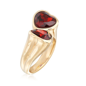 5.90 ct. t.w. Garnet Heart Bypass Ring in 14kt Yellow Gold. Size 9, , default