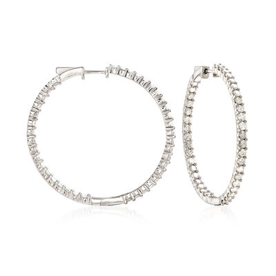 4.00 ct. t.w. Diamond Inside-Outside Hoop Earrings in Sterling Silver