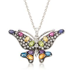 "4.60 ct. t.w. Multi-Stone Butterfly Pendant Necklace in Sterling Silver. 18"", , default"