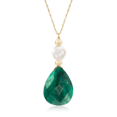 8.00 Carat Emerald and Cultured Pearl Necklace in 14kt Yellow Gold, , default