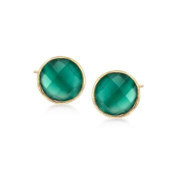 Green Chalcedony Stud Earrings in 18kt Gold Over Sterling, , default