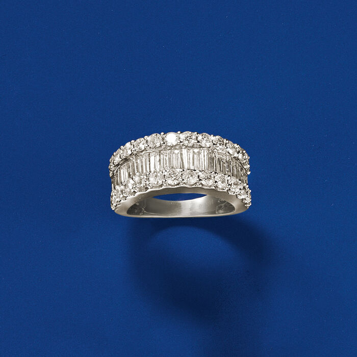 3.00 ct. t.w. Baguette and Round Diamond Ring in 14kt White Gold