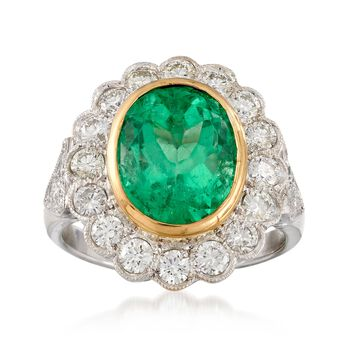 C. 1990 Vintage 4.50 Carat Emerald and 1.45 ct. t.w. Diamond Ring in 18kt Two-Tone Gold. Size 6.5, , default