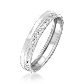 Italian 14kt White Gold Diamond-Cut Ring, , default