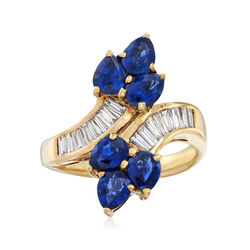 C. 1980 Vintage 2.42 ct. t.w. Sapphire and .56 ct. t.w. Diamond Bypass Ring in 14kt Yellow Gold, , default