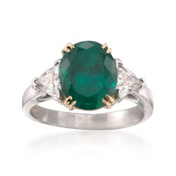 C. 1990 Vintage 2.90 Carat Emerald and 1.01 ct. t.w. Diamond Three-Stone Ring in Platinum. Size 6, , default