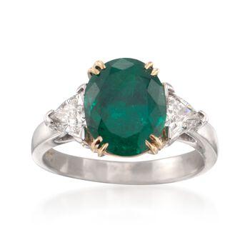 C. 1990 Vintage 2.90 Carat Emerald and 1.01 ct. t.w. Diamond Three-Stone Ring in Platinum. Size 6, , default