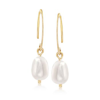 6mm Cultured Pearl Drop Earrings in 14kt Yellow Gold , , default