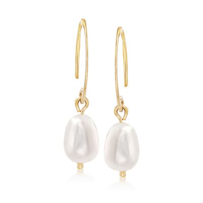 6mm Cultured Pearl Drop Earrings in 14kt Yellow Gold, , default