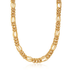 Italian 18kt Gold Over Sterling Oval and Round Multi-Link Necklace, , default