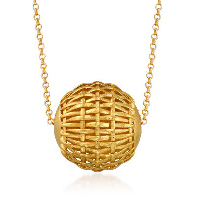 Italian 18kt Gold Over Sterling Woven-Style Bead Necklace