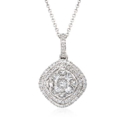 C. 2014 Simon G. .67 ct. t.w. Diamond Halo Pendant Necklace in 18kt White Gold, , default