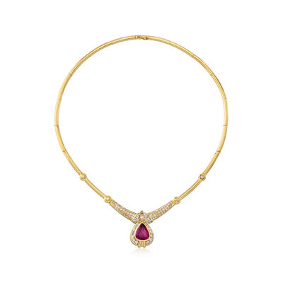 C. 1980 Vintage 4.80 Carat Rubellite and 2.70 ct. t.w. Diamond Necklace in 18kt Yellow Gold, , default