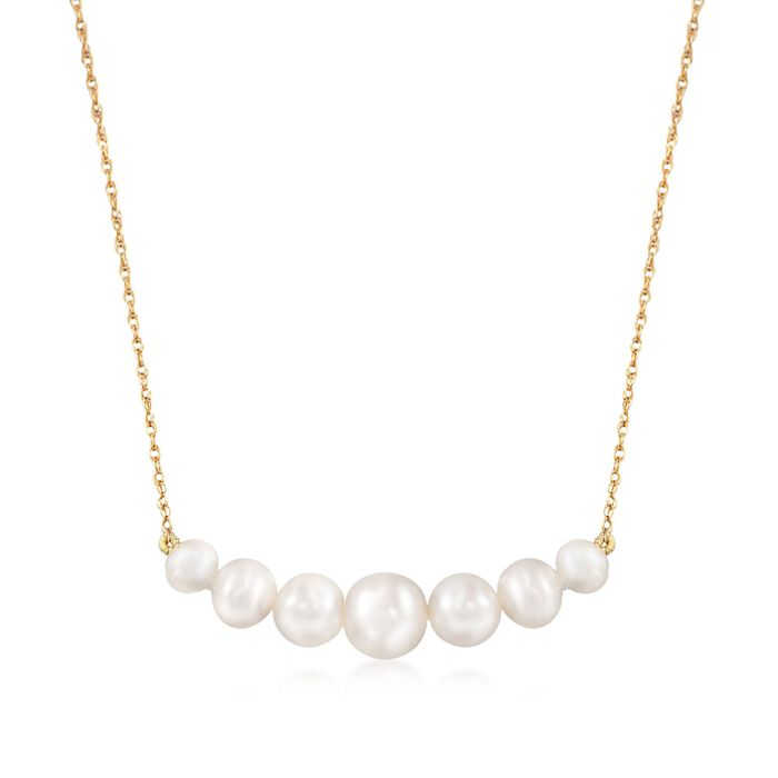 "5-9mm Graduated Cultured Pearl Bar Necklace in 14kt Yellow Gold. 18"", , default"