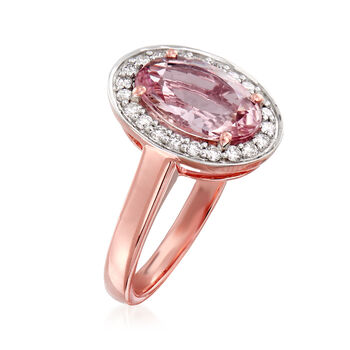 2.40 Carat Morganite and .30 ct. t.w. Diamond Ring in 14kt Rose Gold. Size 7, , default