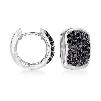 1.10 ct. t.w. Black Diamond Huggie Hoop Earrings in 14kt White Gold