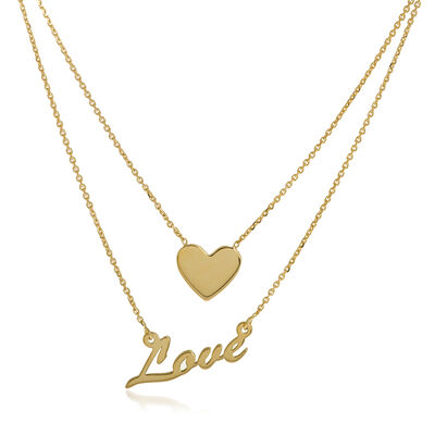 14kt Yellow Gold Duo East-West Love and Heart Necklace, , default