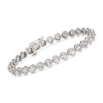 5.00 ct. t.w. Diamond Halo Bracelet in 14kt White Gold, , default