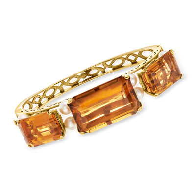 C. 1950 Vintage Cultured Pearl and 60.00 ct. t.w. Citrine Bangle Bracelet in 14kt Yellow Gold