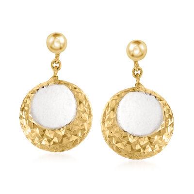 Italian 18kt Yellow Gold Diamond-Cut Open-Space Drop Earrings