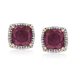 7.50 ct. t.w. Ruby and .27 ct. t.w. Diamond Earrings in 14kt Yellow Gold, , default