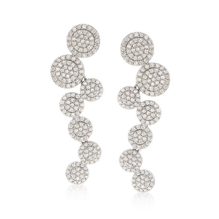 3.50 ct. t.w. CZ Zigzag Circle Drop Earrings in Sterling Silver