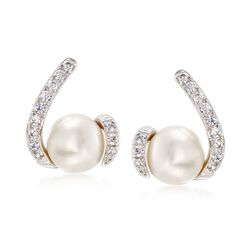 7.5-8mm Cultured Pearl and .35 ct. t.w. CZ Earrings in Sterling Silver, , default