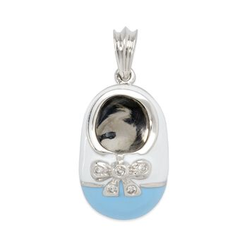 Shoe Charm Pendant With Diamond Accents and Enamel in 14kt White Gold, , default