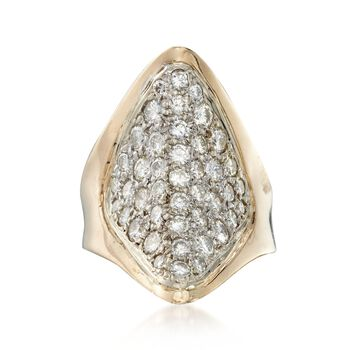 C. 1980 Vintage 1.65 ct. t.w. Diamond Navette Ring in 14kt Yellow Gold. Size 4.75, , default