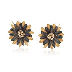 Italian Crystal Gunmetal Flower Earrings in 18kt Gold Over Sterling , , default