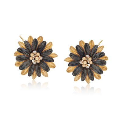Italian Crystal Gunmetal Flower Earrings in 18kt Gold Over Sterling , , default