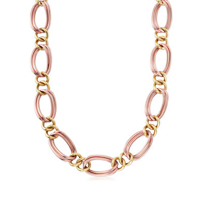 C. 1980 Vintage 14kt Two-Tone Gold Link Necklace
