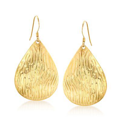 18kt Gold Over Sterling Textured Teardrop Earrings, , default
