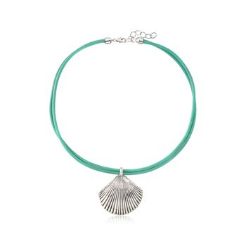 """Sterling Silver Seashell and Turquoise Leather Necklace. 18.5"""", , default"""