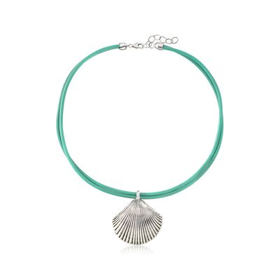 Sterling Silver Seashell and Turquoise Leather Necklace, , default