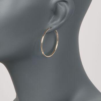 "2mm 14kt Yellow Gold Endless Hoop Earrings. 1 3/8"", , default"