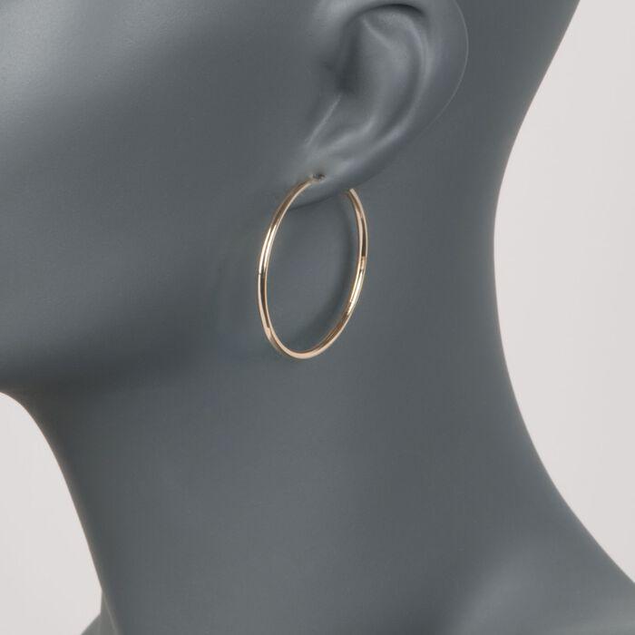 2mm 14kt Yellow Gold Endless Hoop Earrings
